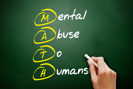 MATH - Mental Abuse To Humans, acronym concept on blackboard