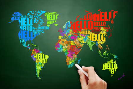 HELLO Word Cloud World Map in Typography, business concept on blackboard