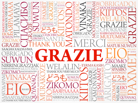 Grazie (Thank You in Italian) Word Cloud background, all languages, multilingual for education or thanksgiving day