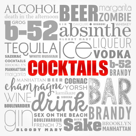 Different cocktails and ingredients, word cloud collage, design concept background Standard-Bild - 114012899