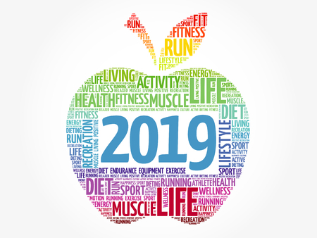 2019 apple word cloud collage, health concept background