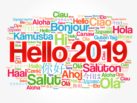 Hello 2019 word cloud in different languages of the world, background concept Vector Illustratie