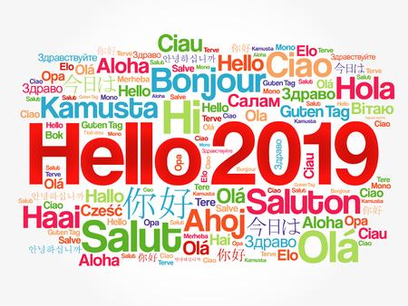 Hola 2019 nube de palabras en diferentes idiomas del mundo, concepto de fondo Ilustración de vector