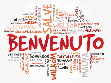 Benvenuto (Welcome in Italian) word cloud in different languages, conceptual background