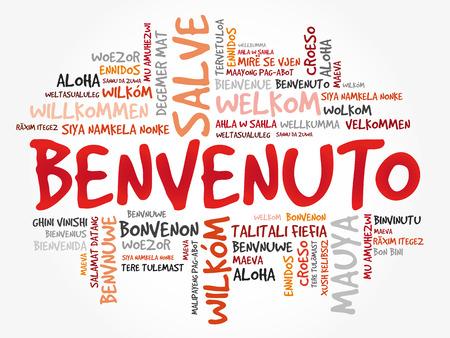 Nuage de mots Benvenuto (Bienvenue en italien) dans différentes langues, arrière-plan conceptuel