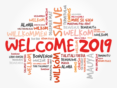 WELCOME 2019 word cloud in different languages, conceptual background