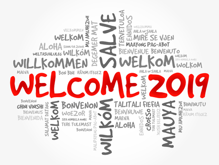 WELCOME 2019 word cloud in different languages, conceptual background Vetores