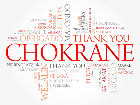 Chokrane (Thank You in Arabic - Middle East, North Africa) Word Cloud background, all languages, multilingual for education or thanksgiving day