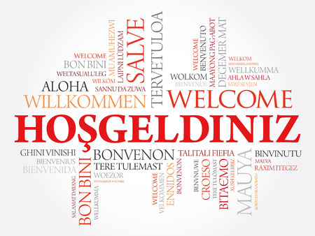 Hosgeldiniz (Welcome in Turkish) word cloud in different languages, conceptual background