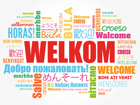 Welkom (Welcome in Afrikaans) word cloud in different languages, conceptual background Vettoriali