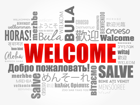 WELCOME word cloud in different languages, concept background Vettoriali