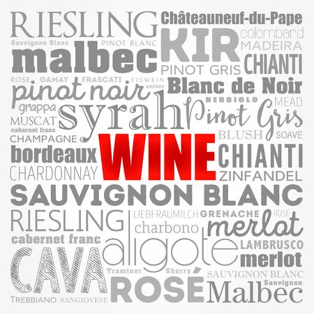 Types de variétés de vin nuage de mots collage, concept background Vecteurs