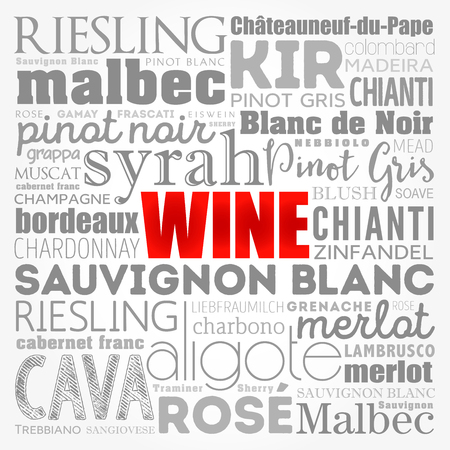 WINE VARIETALS Types word cloud collage, concept background Çizim