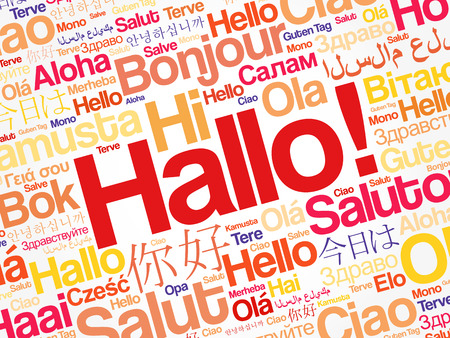 Hallo (Hello Greeting in German) word cloud in different languages of the world, background concept Ilustração