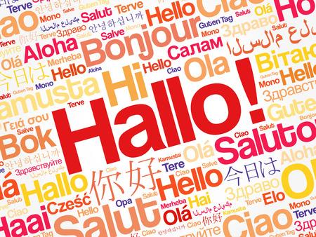 Hola (saludo de saludo en alemán) nube de palabras en diferentes idiomas del mundo, concepto de fondo