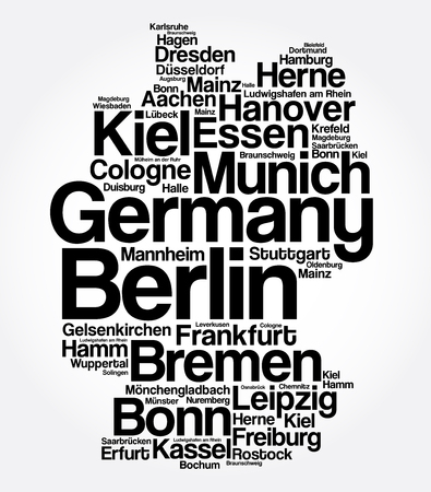 List of cities and towns in GERMANY, map word cloud collage, business and travel concept background Vektoros illusztráció