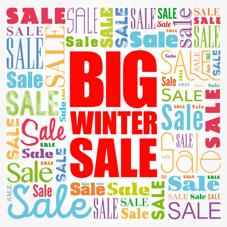 Big winter sale word cloud collage, business concept background
