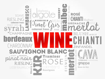 Types de variétés de vin nuage de mots collage, concept background