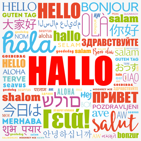 Hallo (Hello Greeting in German) word cloud in different languages of the world, background concept 向量圖像