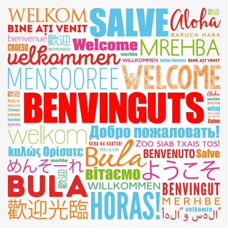 Benvinguts (Welcome in Catalan) word cloud in different languages, conceptual background
