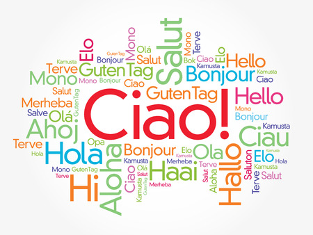 Ciao (Hello Greeting in Italian) word cloud in different languages of the world, background concept