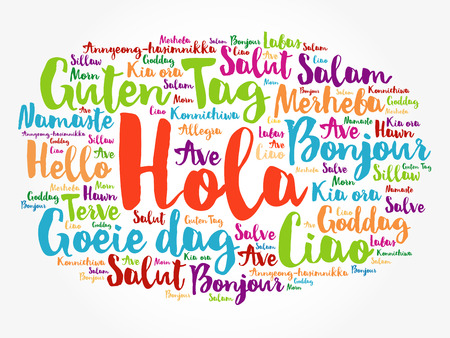 Hola! (Hello Greeting in Spanish) word cloud in different languages of the world, background concept