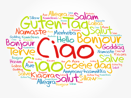 Ciao (Hello Greeting in Italian) word cloud in different languages of the world, background concept Ilustracje wektorowe