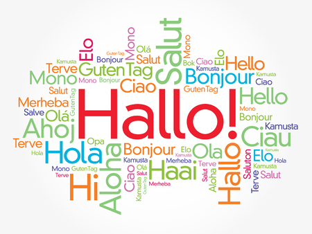 Hallo (Hello Greeting in German) word cloud in different languages of the world, background concept Illustration