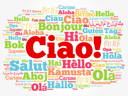 Ciao (Hello Greeting w języku włoskim) chmura słów w różnych językach świata, koncepcja tła Ilustracje wektorowe
