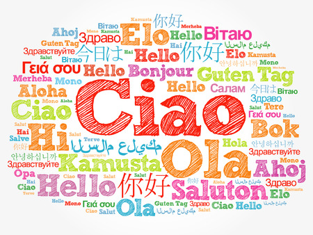 Ciao (Hello Greeting in Italian) word cloud in different languages of the world, background concept Zdjęcie Seryjne