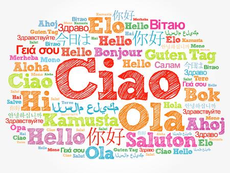 Ciao (Hello Greeting w języku włoskim) chmura słów w różnych językach świata, koncepcja tła Zdjęcie Seryjne
