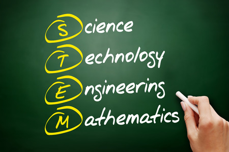 STEM - Science, Technology, Engineering, Mathematics acronym, education concept on blackboard 스톡 콘텐츠