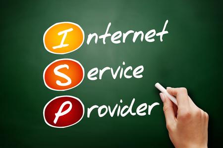 ISP - Internet Service Provider, acronym technology concept on blackboard Stockfoto
