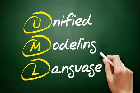 UML - Unified Modeling Language, acronym business concept on blackboard - Image