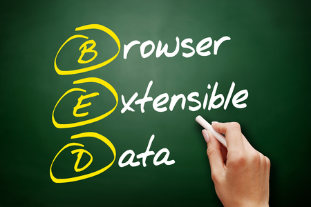 BED - Browser Extensible Data, acronym concept on blackboard 写真素材