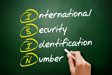 ISIN - International Security Identification Number acronym, business concept on blackboard Imagens