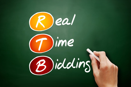 RTB - Real-time bidding, acronym business concept background Banco de Imagens