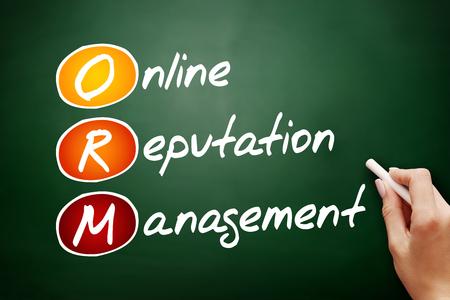ORM - Online Reputation Management, acronym business concept on blackboard