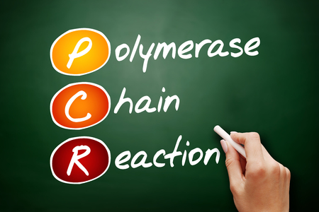 PCR - Polymerase Chain Reaction, acronym health concept background Foto de archivo