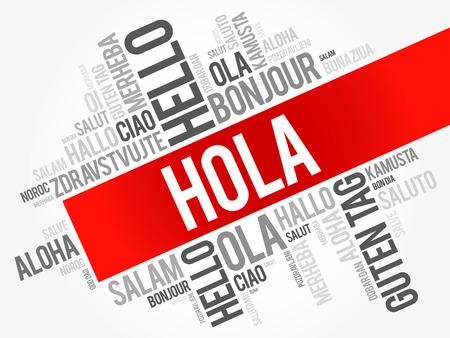 Hola (Hello Greeting in Spanish) word cloud in different languages of the world, background concept Çizim