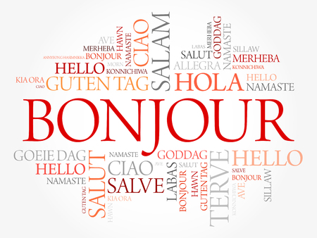 Bonjour (Hello Greeting in French) word cloud in different languages of the world, background concept Ilustração