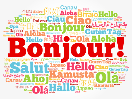 Bonjour! (Hello Greeting in French) word cloud in different languages of the world, background concept