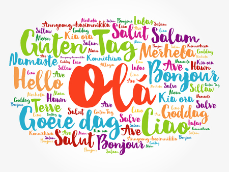 OLA (Hello Greeting in Portuguese) word cloud in different languages of the world, background concept Ilustração