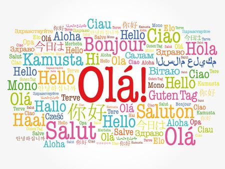 Nube de palabras OLA (Hola saludo en portugués) en diferentes idiomas del mundo, concepto de fondo Ilustración de vector