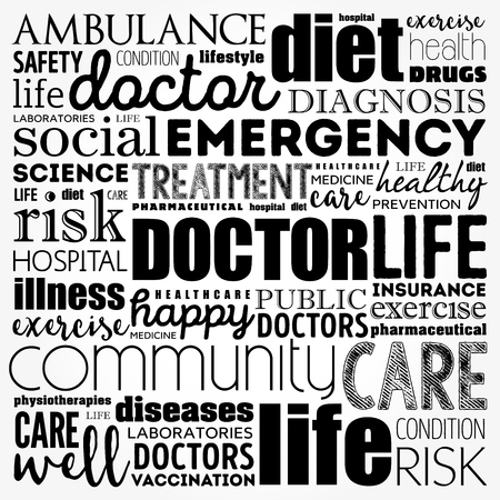 Doctor word cloud collage, healthcare concept background Vettoriali