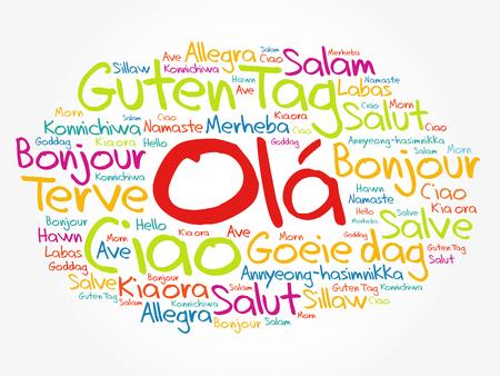 Nube de palabras OLA (Hola saludo en portugués) en diferentes idiomas del mundo, concepto de fondo