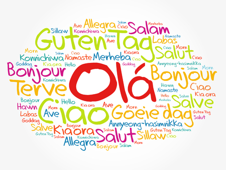 OLA (Hello Greeting in Portuguese) word cloud in different languages of the world, background concept Çizim