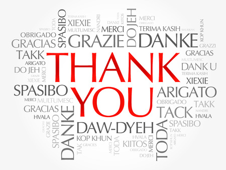 Thank You word cloud in different languages, concept background Vettoriali