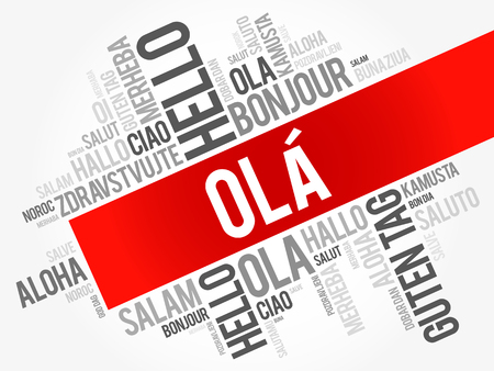 OLA (Hello Greeting in Portuguese) word cloud in different languages of the world, background concept Illusztráció