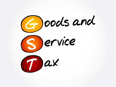 GST - Goods and Service Tax, acronym business concept background Illustration